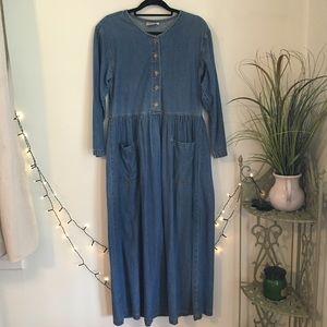 Vintage Denim Maxi Dress Lagenlook Cotton 90s Long